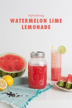 Escape the summer heat with a refreshing glass of watermelon lime lemonade.