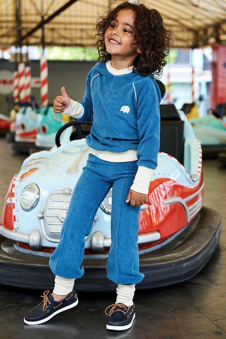 AlbaBaby Habian Hoodie  - Blue Terry Retro Baby Clothes - Baby Boy clothes - Danish Baby Clothes - Smafolk - Toddler clothing - Baby Clothing - Baby clothes Online