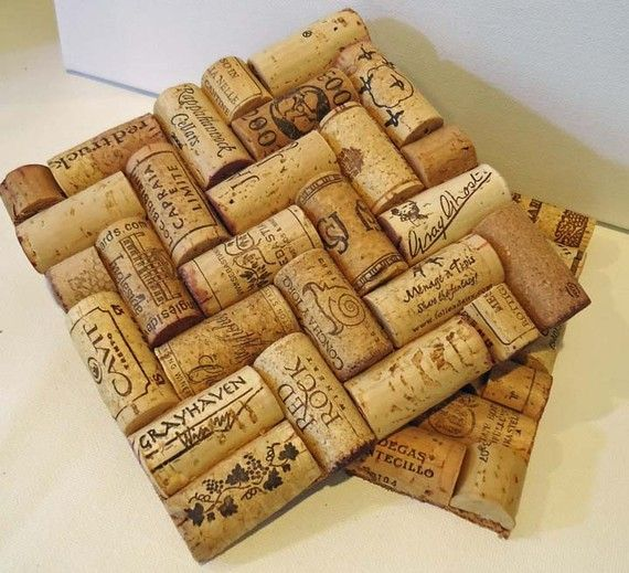 Upcycled Wine Cork Trivets herringboneset of by TheGoodWineArtist