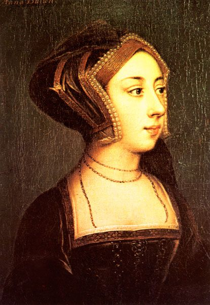 Lady believed to be Anne Boleyn wearing an English hood by ? after style of Holbein (Hever Castle, Kent)