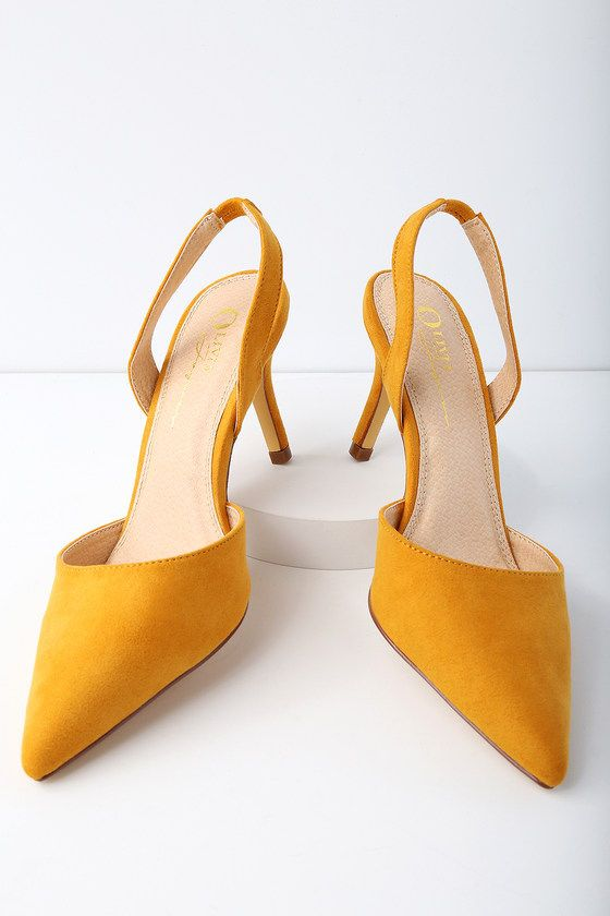 a1283661d28 Strut it like you mean in in the Mathilda Mustard Yellow Suede Slingback  Pumps! Soft