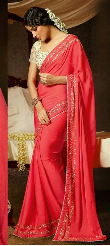simple coral indian saree