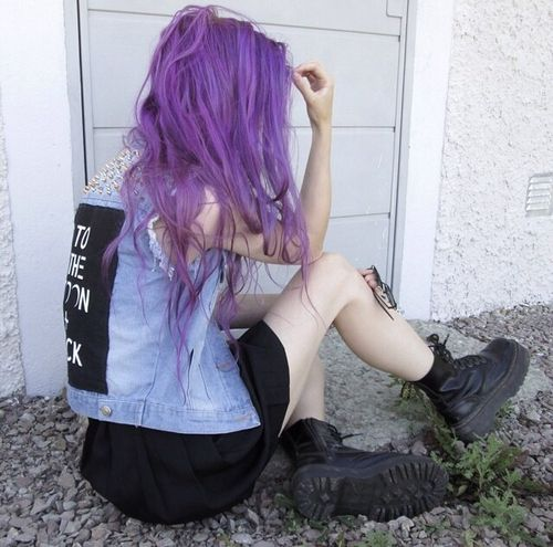 flatforms creepers black purple grunge alternative fashion style pink purple hair