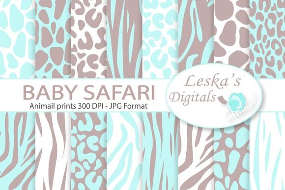 Animal Prints - Baby Blue Safari by Digital Work Graphic Shop on @creativemarket