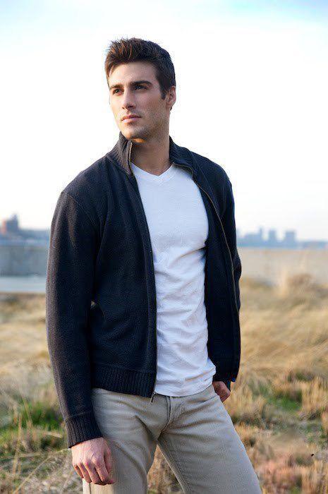 Shop this look on Lookastic:  https://lookastic.com/men/looks/navy-zip-sweater-white-v-neck-t-shirt-beige-chinos/13721  — White V-neck T-shirt  — Navy Zip Sweater  — Beige Chinos