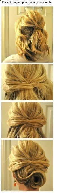 Style-Short hair updo for wedding or going out - so i didnt do EXACTLY this. instead i criss-crossed some pieces in the back and used bobby pins. my swirl at the neck wasnt as clean as that and more to the side but it definitely added character to the do