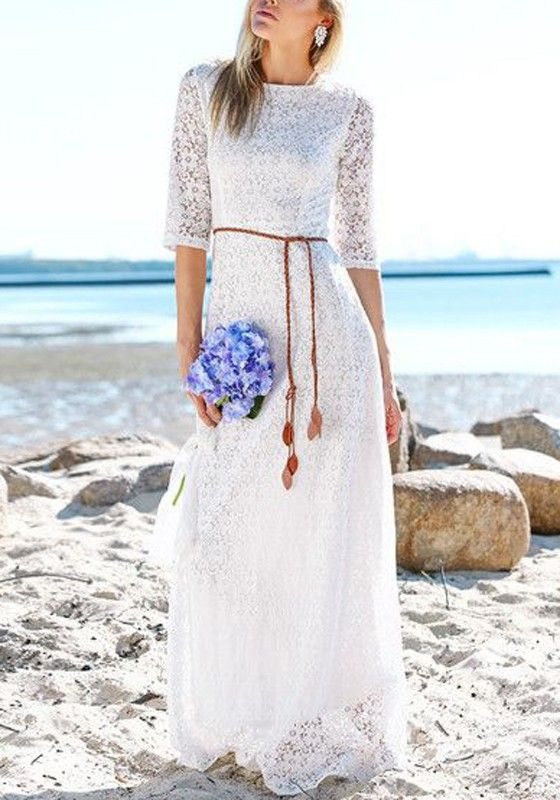 http://www.cichic.com/white-floral-belt-three-quarter-length-sleeve-lace-dress.html