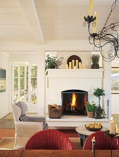 Love this fireplaceDecor, Architectural Digest, Most Popular Pin, Valley Farmhouse, Living Room, Bricks Fireplaces, Fireplaces Ideas, Fireplaces Warm, Architecture Digest