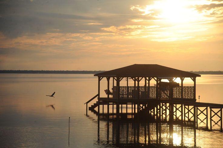 Lake Waccamaw, North Carolina,  idyllic lake in North Carolina's Eastern region, near Whiteville, North Carolina.