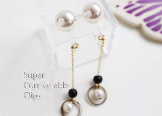 Large Pearl Earrings Allergy Free Clip On Swinging Pearl