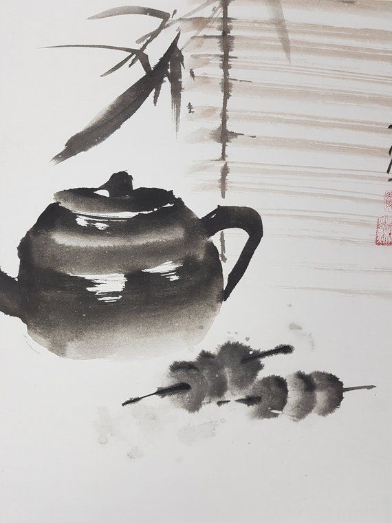 Chinese Brush Painting Sparrow And Flowers Watercolor Paper