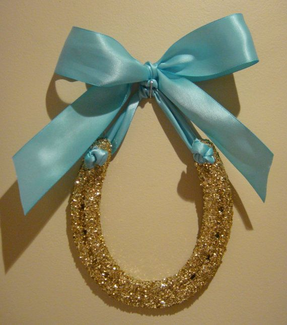 Hand Painted Gold and Glitter Gold Horseshoe w by LuckyPonyShop, $33.00