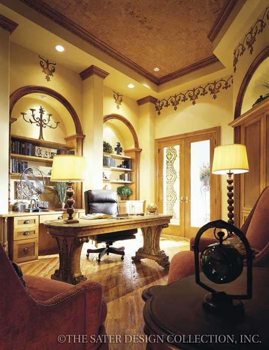 """Study. The Sater Design Collection's luxury Tuscan home plan """"Fiorentino"""" (Plan 6910)."""
