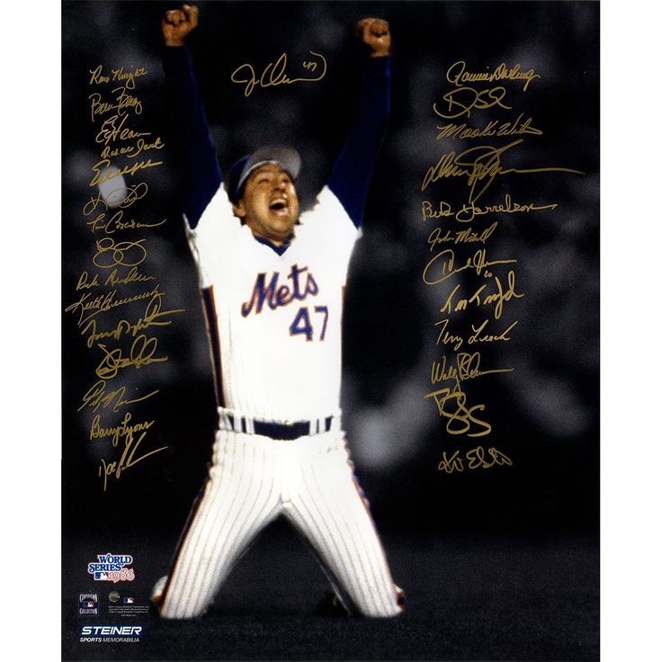 1986 New York Mets Team Signed Jesse Orosco Last Out Celebration 20x24 Photo (28 Signatures)