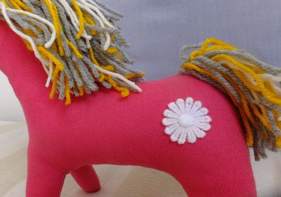 9 X 11  cuddly, handmade, unique design Starry-eyed Pony.  Please, be warned that even though the tiny flitters are sewn on strong, they might come off