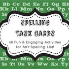 "48 fun and engaging activities to use with any spelling list! These task cards are perfect for incorporating into your Daily 5 ""Word Work."" Just print on card stock, laminate, & cut! $"