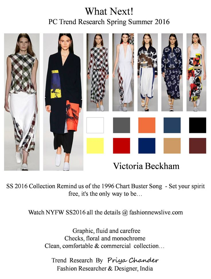 #fashion #art #design #pctrendresearch #Victoriabeckham #SS16 #NYFW #black #white #electricblue #rustred #leather #suede #chiffon #fashiontrends2016 #fashionindustry #spicegirls #fashionweek #fashionnews #checks #graphicprint #midiskirt #culottes #tunictops #hibiscus #florals #fashionprint #skirts #carefreeattitude #lifestyle