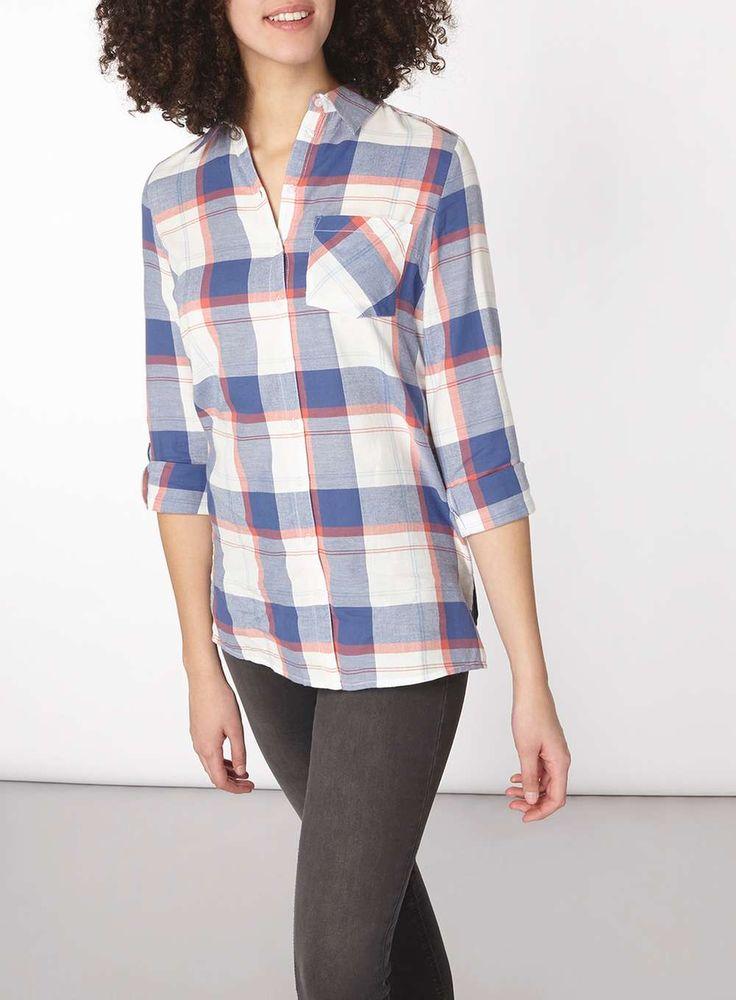 Womens **Tall Sky Blue Stripe Textured Shirt- Blue