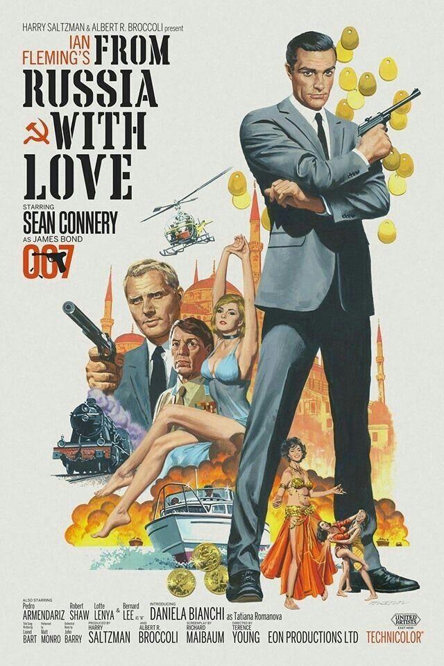 James Bond 2 Bons Baisers De Russie Avec Sean Connery Vieux Films Affiche Cinema Affiche Film