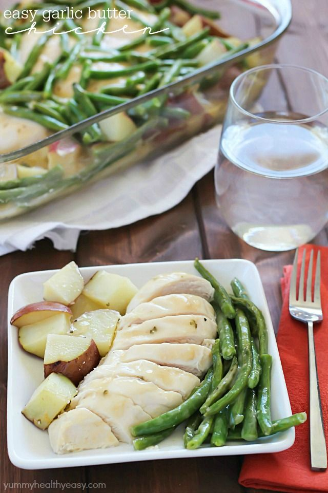 Easy Garlic Butter Chicken, Green Beans & Potatoes - an easy dinner with only a few ingredients for a quick weeknight meal everyone will love!