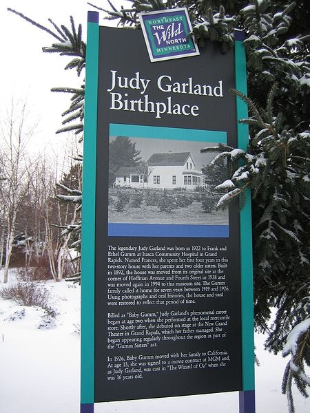 Judy Garland Birthplace Sign Grand Rapids, MN