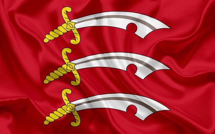 Scarica sfondi Contea di Essex, Bandiera, Inghilterra, bandiere delle contee inglesi, Bandiera di Essex, Contea Inglesi, Bandiere, bandiera di seta, Essex