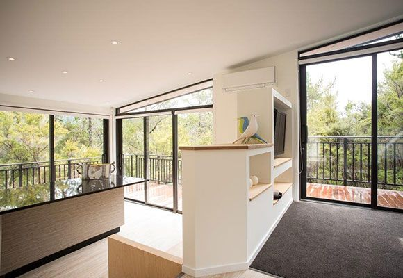 Mitsubishi Electric Designer Series Heat Pump in white installed into award winning holiday home. Nelson, NZ.