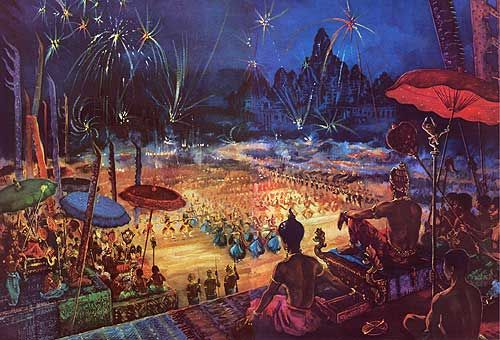 """""""Rockets Flare in the Sky: King, Court, and People Celebrate the New Year"""" by Maurice Fievet."""