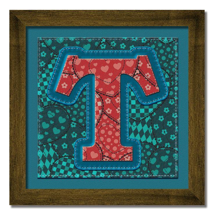 Cuadros Decorativos con las letras del alfabeto para formar nombres y palabras. Marco de madera pintado a mano.