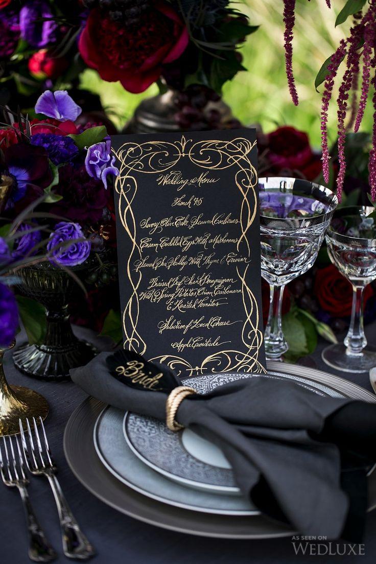 ブラックxゴールド 思い切り大人っぽく仕上げたテーブルコーデ☆ 冬の結婚式のメニュー表アイデア。