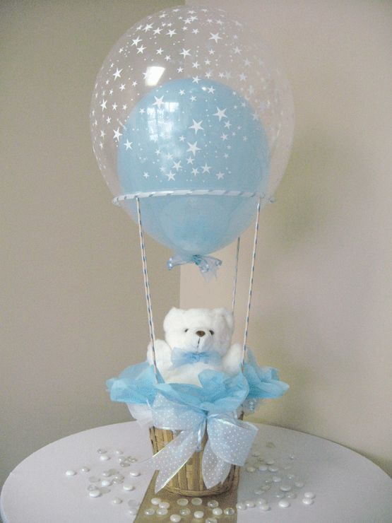 Centerpiece Boy Hot Air Balloon Small