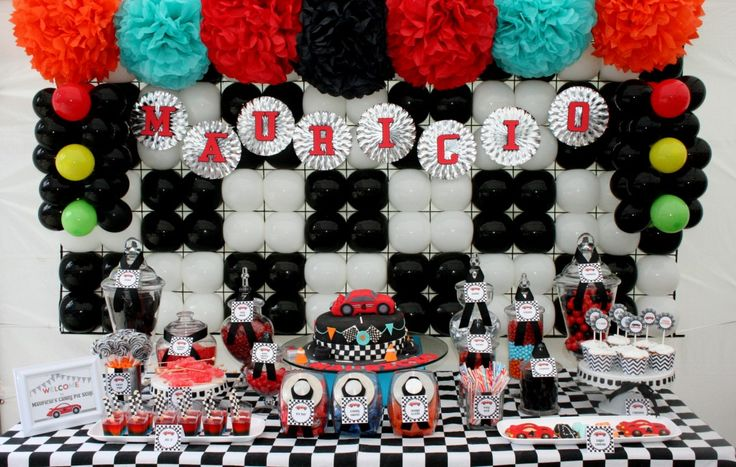 Race car inspired dessert table. boy birthday Party Ideas| http://party-ideas-collections-440.blogspot.com