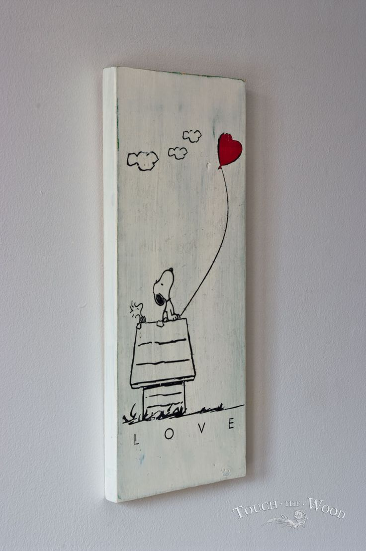 Shabby Chic Plaque - Snoopy Valentine's Day 01