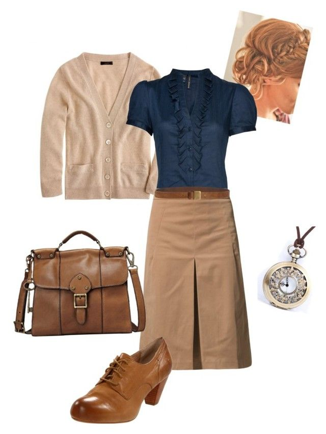 """""""Back in Time"""" by reformandis-vestimentum ❤ liked on Polyvore featuring J.Crew, MANGO, Brunello Cucinelli, FOSSIL and Frye"""