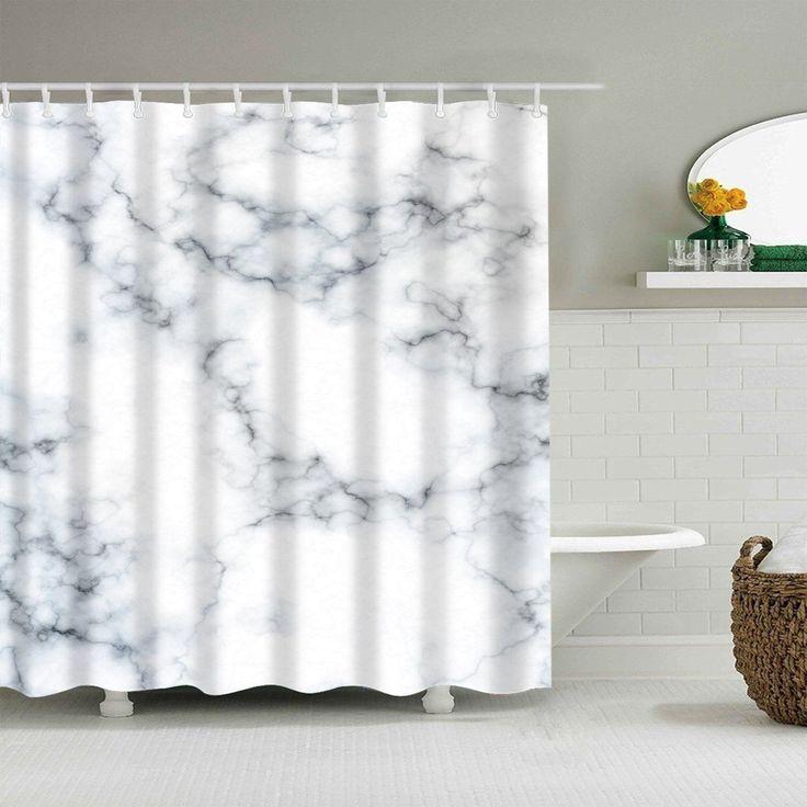 Black White Clear Marble Shower Curtain Bathroom Decor Black White