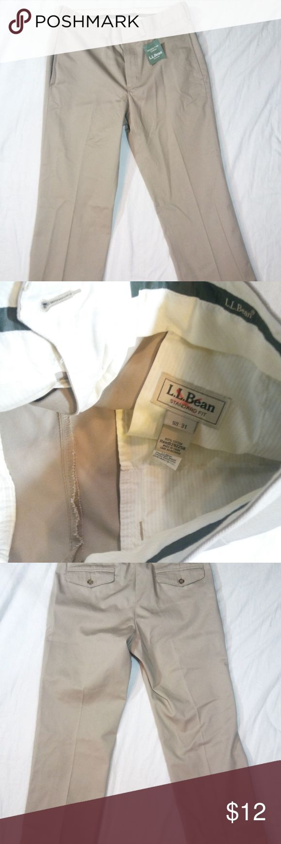 """LL Bean Men's Dress Chinos Khaki 31-26 Up for sale is a pair of LL Bean Men's Wrinkle-Free Dress Chinos Color Khaki size 31-26 Standard Fit Plain front.    Pants are pre owned and I would describe these pants to be in good condition with no rips, tears, or stains that I can see.   Please note this items tag has been subtly marked to prevent retail returns.  Inseam Measurement Approx. 26"""" Front Rise Measurement Approx. 11"""" Waist Measurement Approx. 31"""" Leg Opening Measurement  Approx. 8.5""""…"""