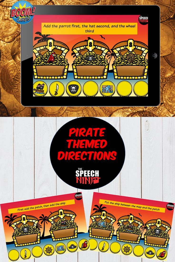 Pirate Themed Directions Boom Cards