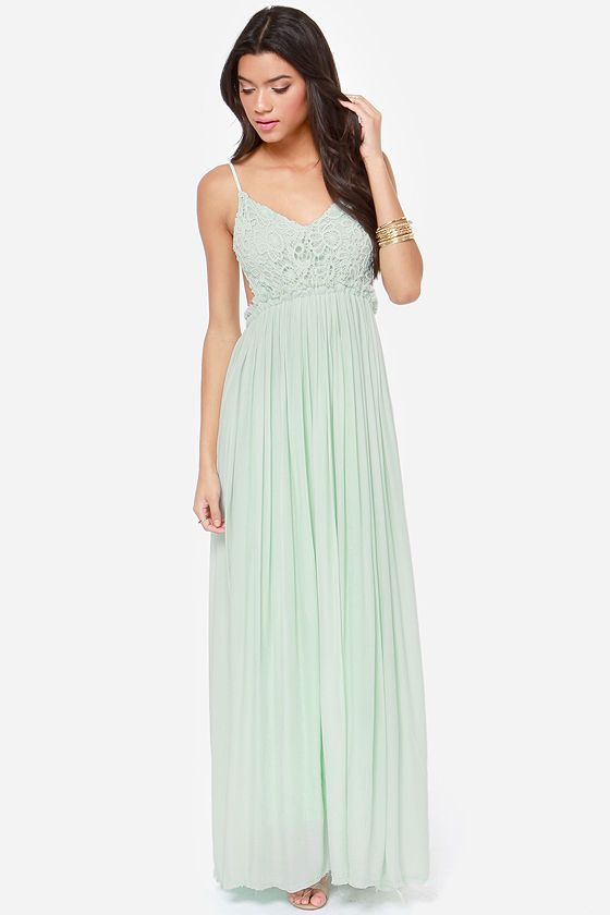Blooming Prairie Crocheted Mint Maxi Dress - would love this in white $54