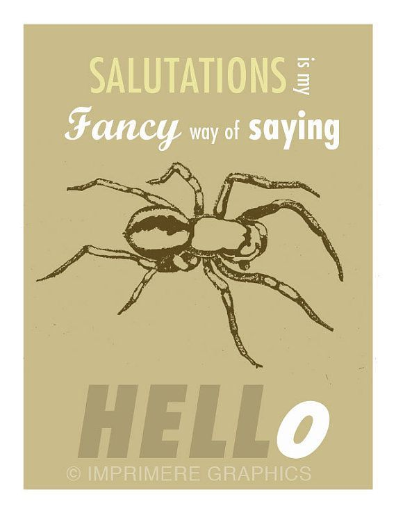 Charlottes Web Quote Print Typographical Graphic Design Print. Salutations Is My Fancy Way of Saying Hello. 8 1/2 x11 Giclee Print.: