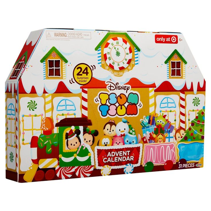 Enjoy counting down the 24 days until Christmas with the Disney Tsum Tsum Advent Calendar. Open a new door each day to reveal a surprise Tsum Tsum figure or accessory to create a holiday themed scene. There are 18 Tsum Tsum figures in total: 6 large with 6 holiday themed accessories, 6 medium, and 6 small. Each holiday accessory is stackable and can be used to stack a large, medium & small Tsum Tsum figure on its own or used to build out an even taller stack with other accessories! This s...