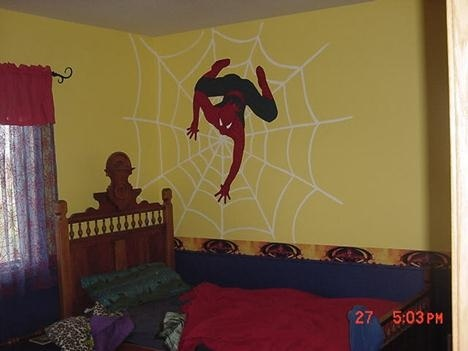 bedroom with superhero themes