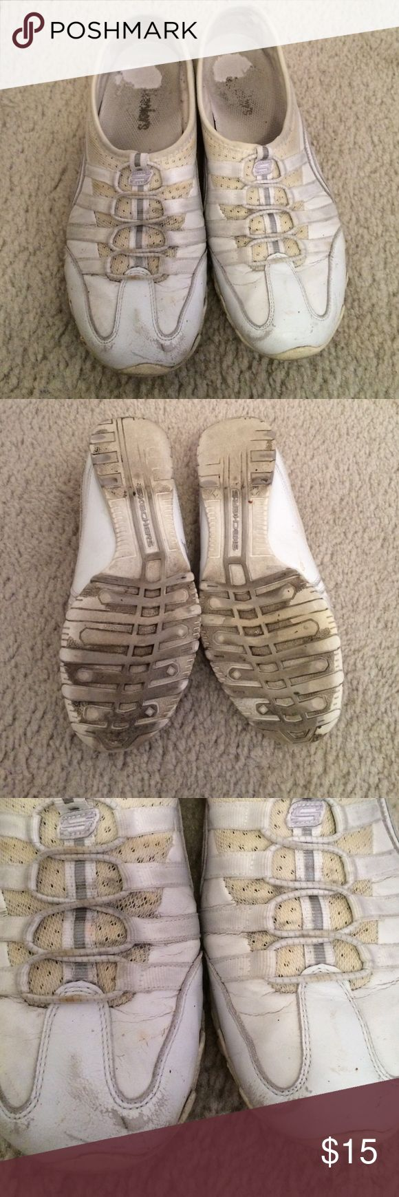 Skecher Slip On Shoes Skecher slip on tennis shoes in white. Very used and need a quick clean but still a lot of life left. Skechers Shoes Sneakers