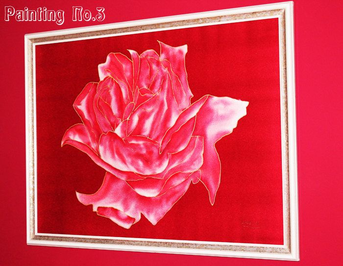 Roses are Red - Original Silk painting for Home/room decor/art deco - pinned by pin4etsy.com