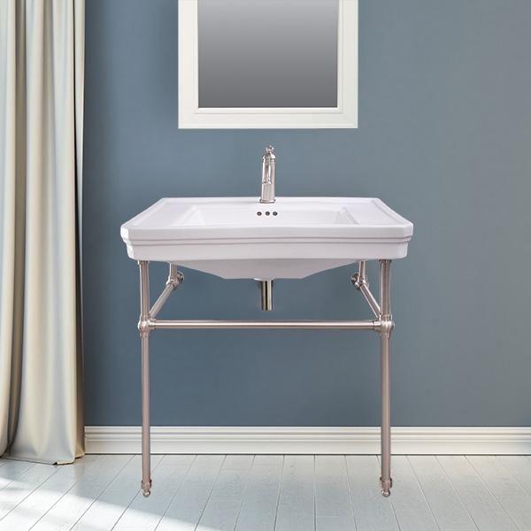 Togo Vitreous China Console Bathroom Sink With Brass Stand Chrome Bathroom Timeless Bathroom Sink