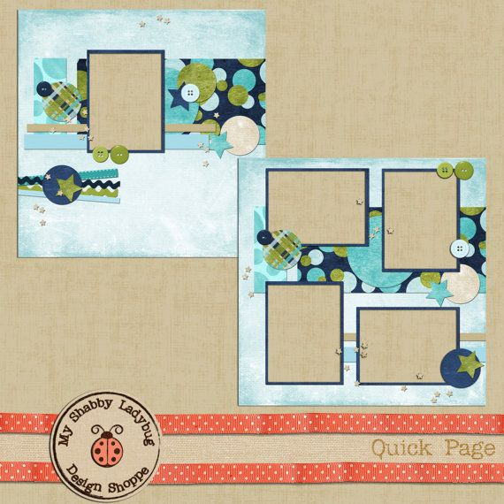 Jayce Piece-of-Cake Album Page! Buttons, Ribbon, Ricrac, Quick Page Double Layout (2 pages!) INSTANT DOWNLOAD