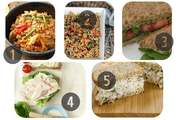 1. Жареный рис с овощами 2. Овощная смесь с цельнозерновой пастой 3. Бутерброд с авокадо, хумусом и помидором 4. Бутерброд Цезарь с индейкой и салатом 5. Бутерброд с тунцом и капустой
