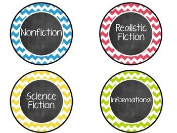 Chevron and chalkboard themed genre labels.