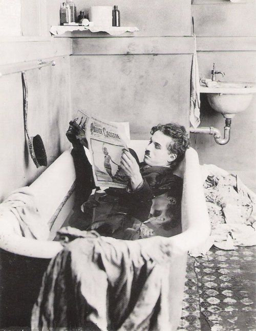 Bathing and washing your clothes at the same time....classic Charlie Chaplin. Anything Charlie is fun!