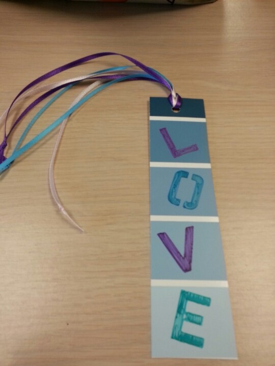 Bookmark made with paint samples