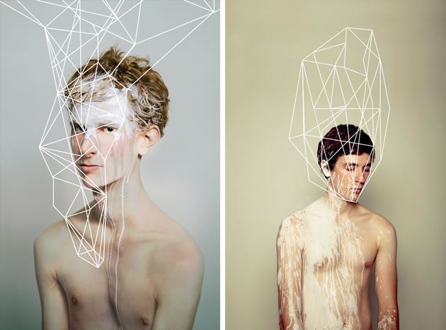 These haunting photographs by May Xiong show painted figures overlaid with a web of linear structures. The images explore the human mind; the interconnected maze of human thought.